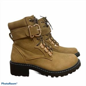 Seven7 Tan Combat Boots Lace Up with Buckle NWOT
